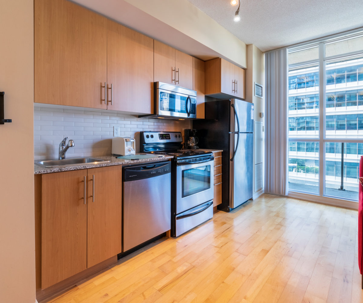 Suite for Rent at Maple Leaf Square Downtown Toronto, Kitchen Balcony
