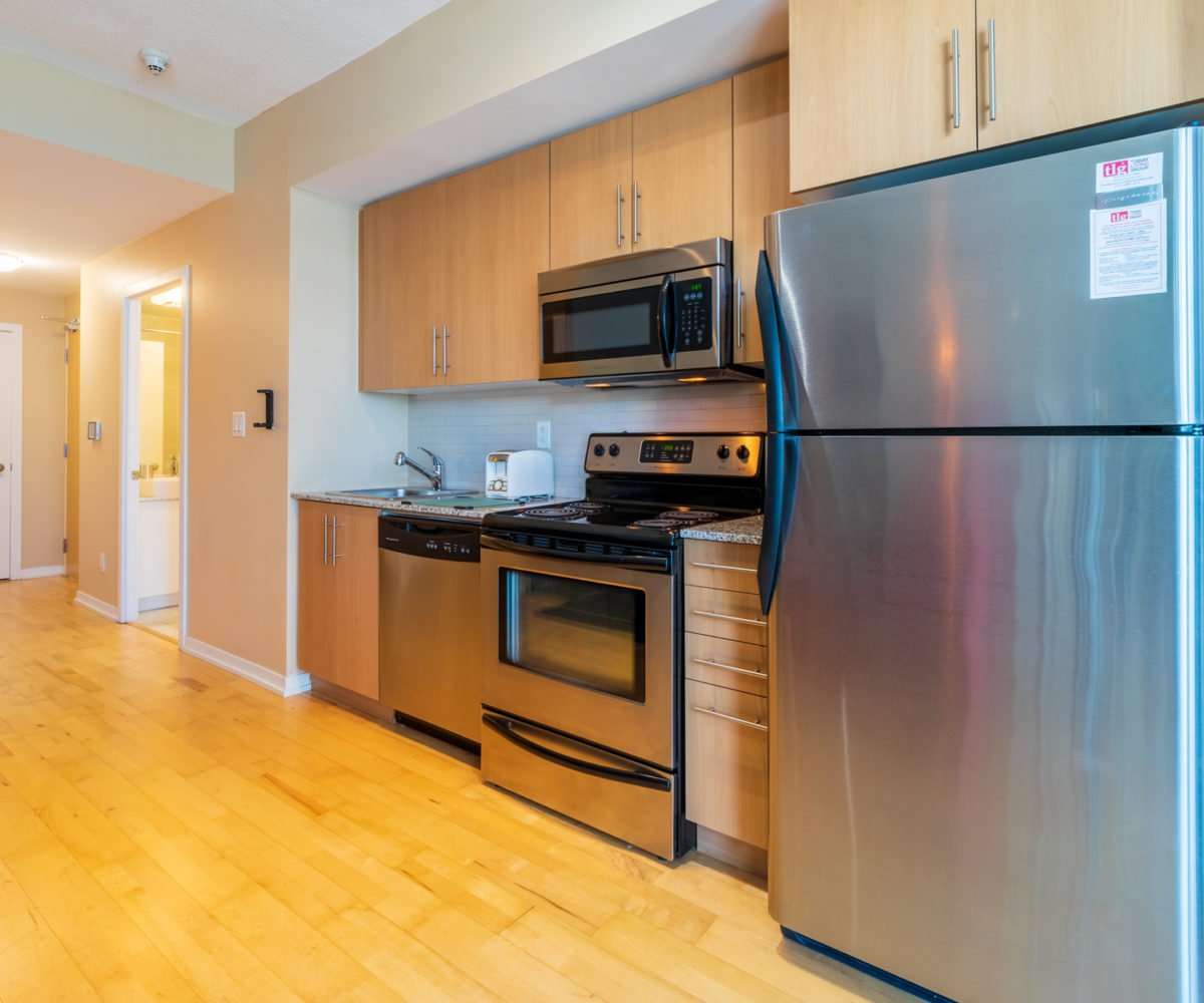 Suite for Rent at Maple Leaf Square Downtown Toronto, Kitchen Entrance Fridge