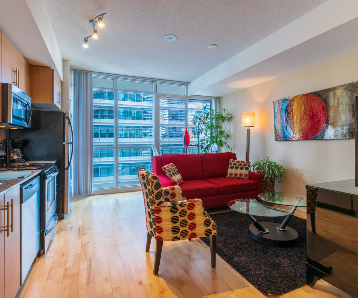 Suite for Rent at Maple Leaf Square Downtown Toronto, Living Room Balcony 1