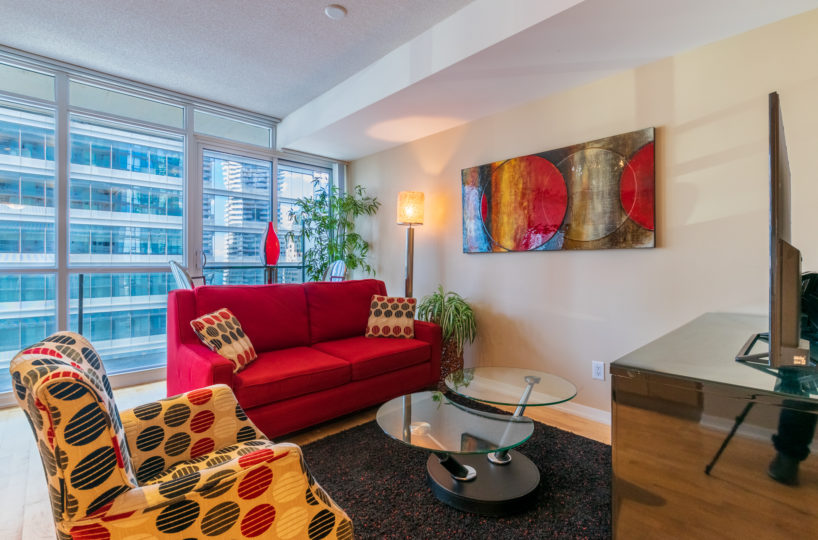 Suite for Rent at Maple Leaf Square Downtown Toronto, Living Room Balcony 2