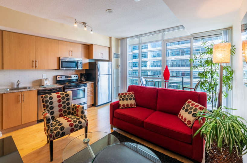 Suite for Rent at Maple Leaf Square Downtown Toronto. Living Room Kitchen