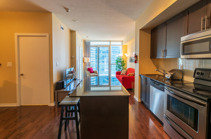 Rental at Maple Leaf Square Downtown Toronto Kitchen Den Living Room