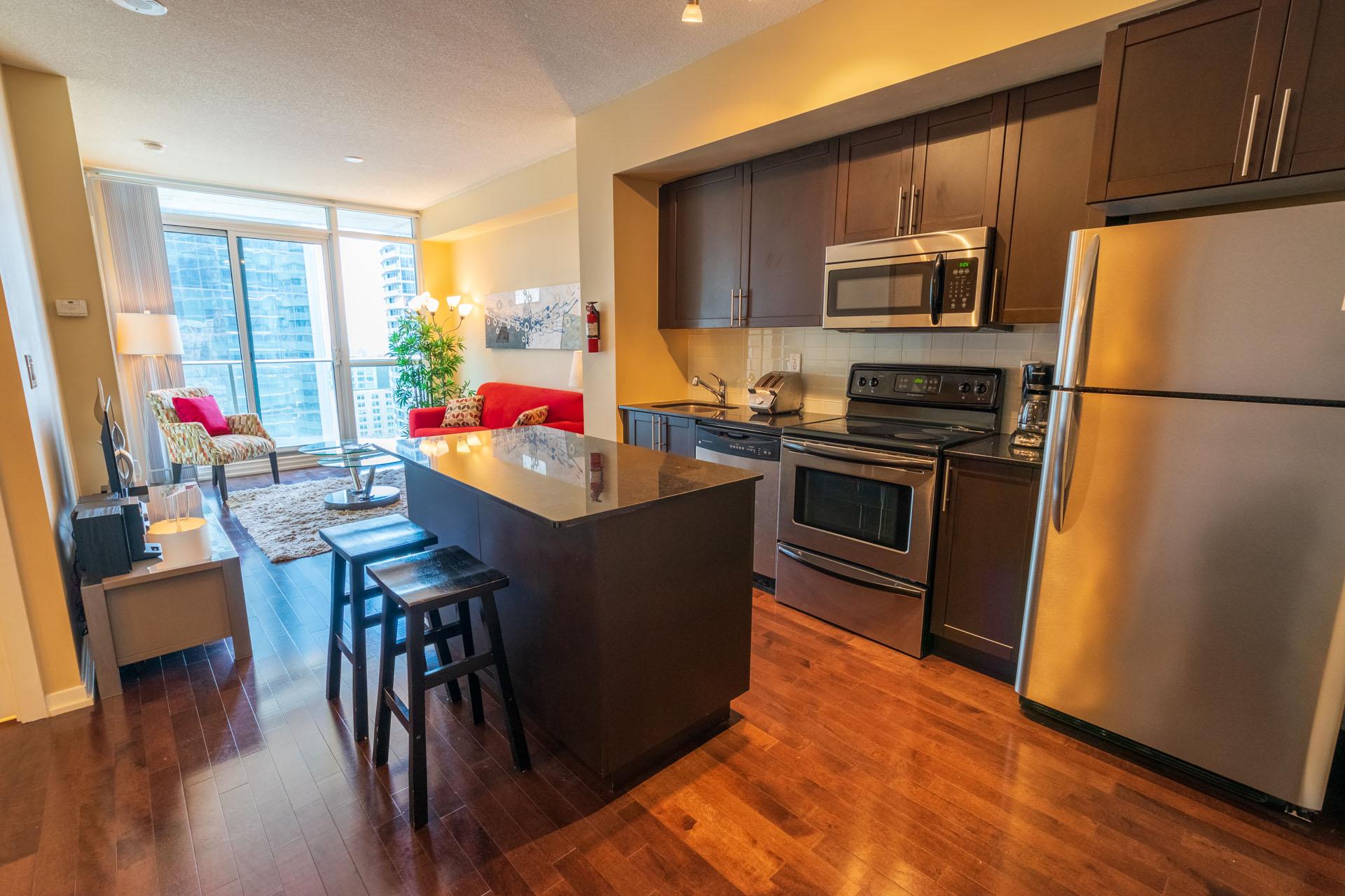 Rental at Maple Leaf Square Downtown Toronto Kitchen Den Living Room