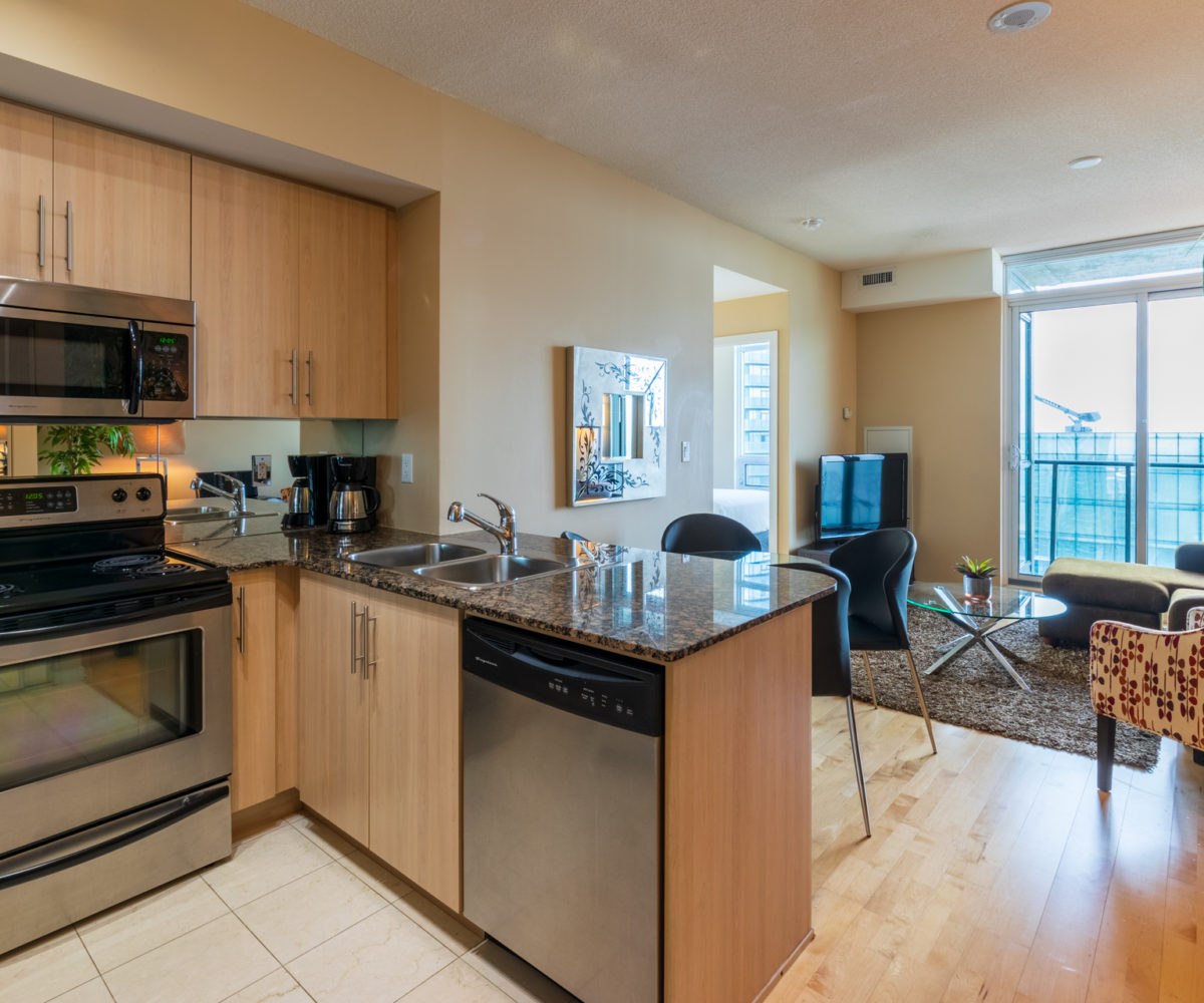 Rental at Maple Leaf Square Downtown Toronto Kitchen Living Room