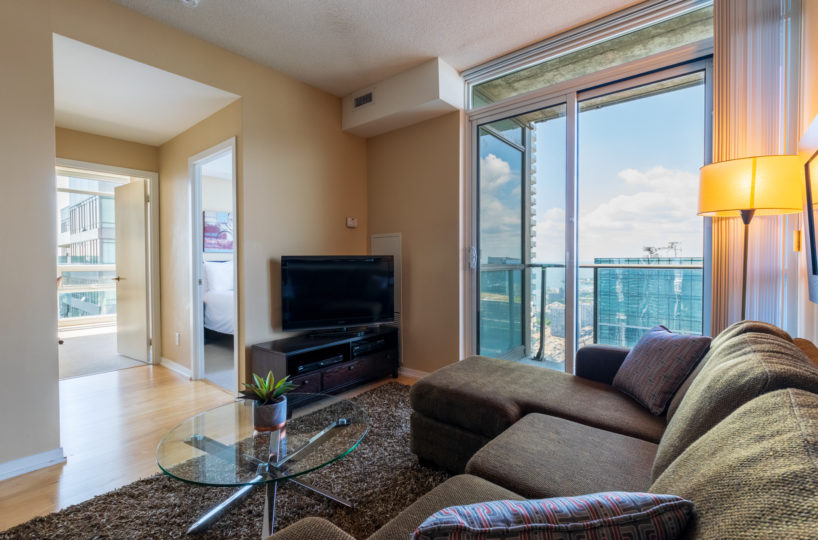 Rental at Maple Leaf Square Downtown Toronto Living Room Balcony HallWay