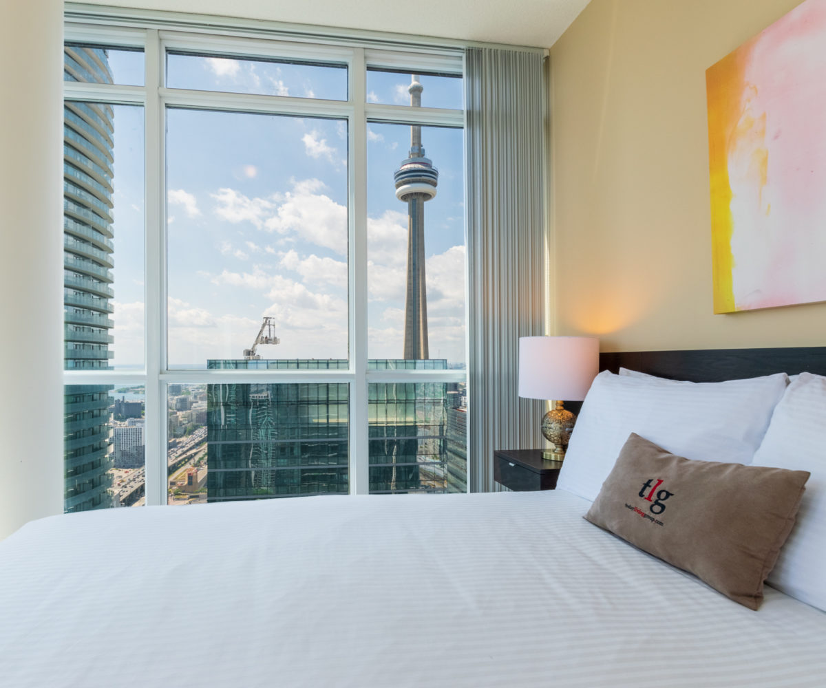 Rental at Maple Leaf Square Downtown Toronto Master Bedroom CN Tower