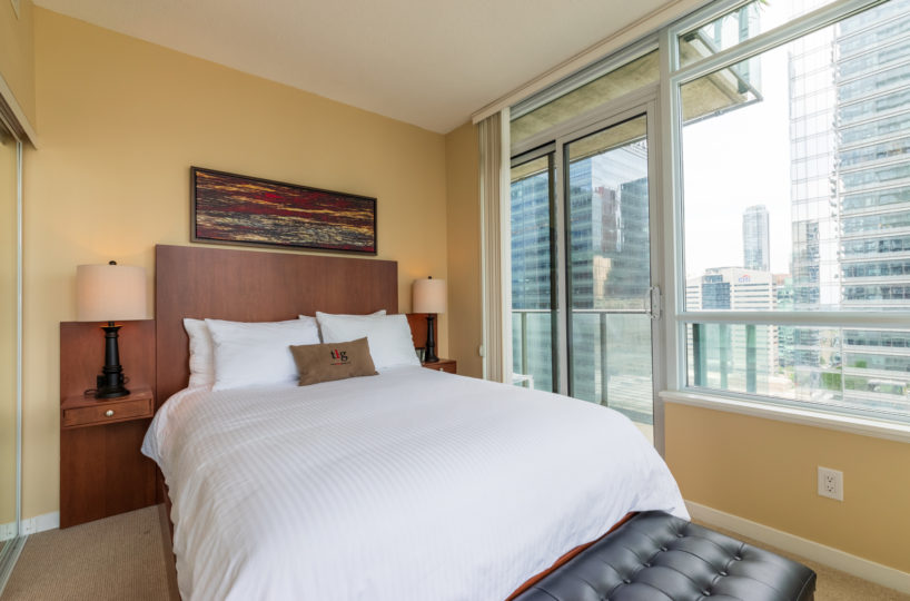 Suite for Rent at Maple Leaf Square Downtown Toronto, Bedroom, White Sheets, Large Window