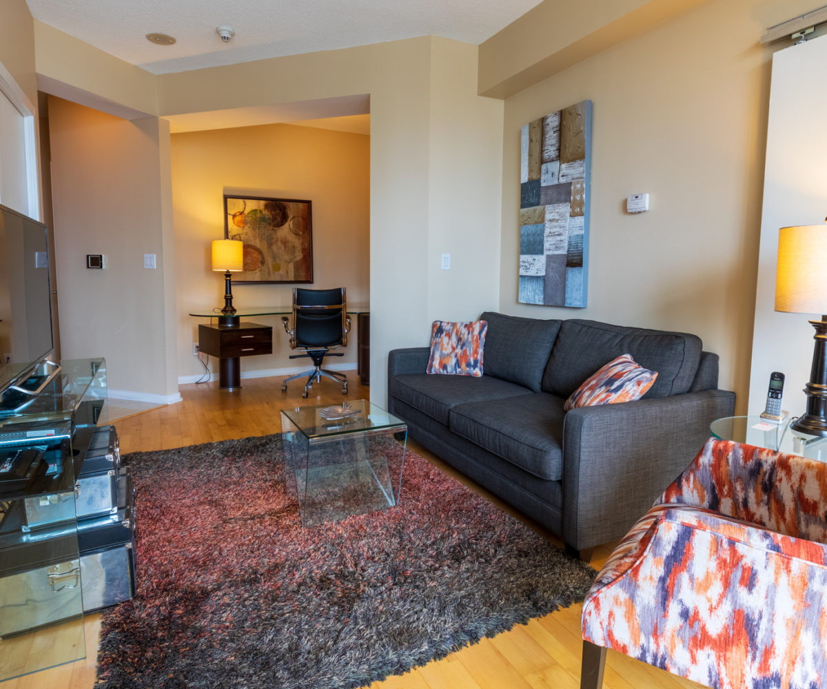 Suite for Rent at Maple Leaf Square Downtown Toronto, Den Living Room TV Sofa