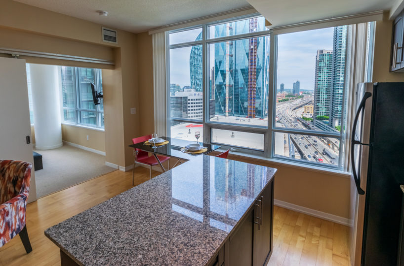 Suite for Rent at Maple Leaf Square Downtown Toronto, Kitchen Bedroom Window