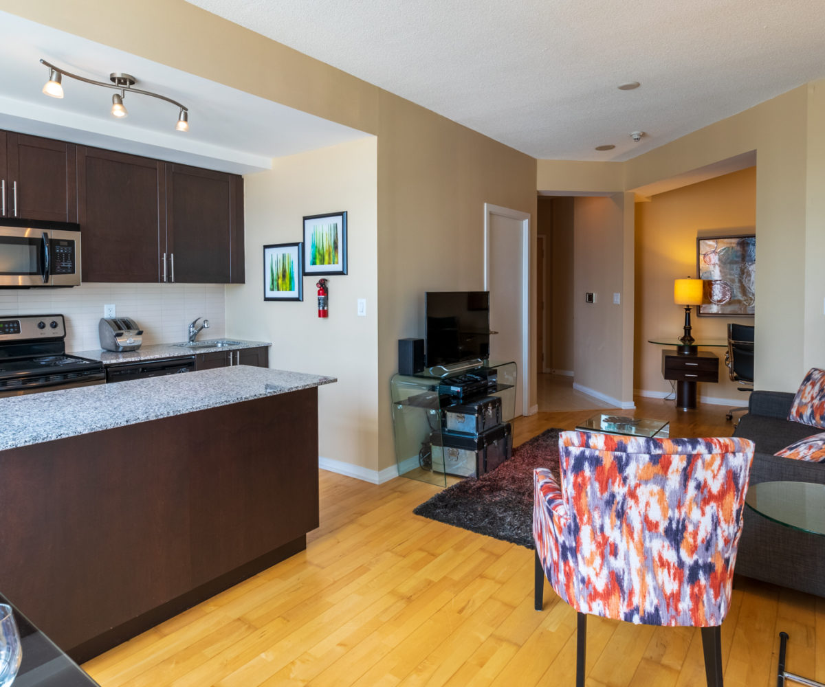 Suite for Rent at Maple Leaf Square Downtown Toronto, Kitchen Living Room