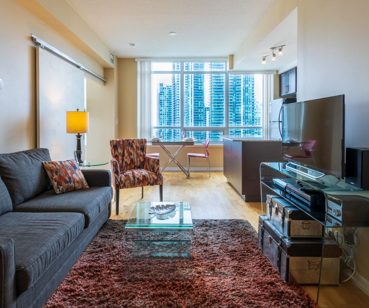 Suite for Rent at Maple Leaf Square Downtown Toronto, Living Room Sofa Window