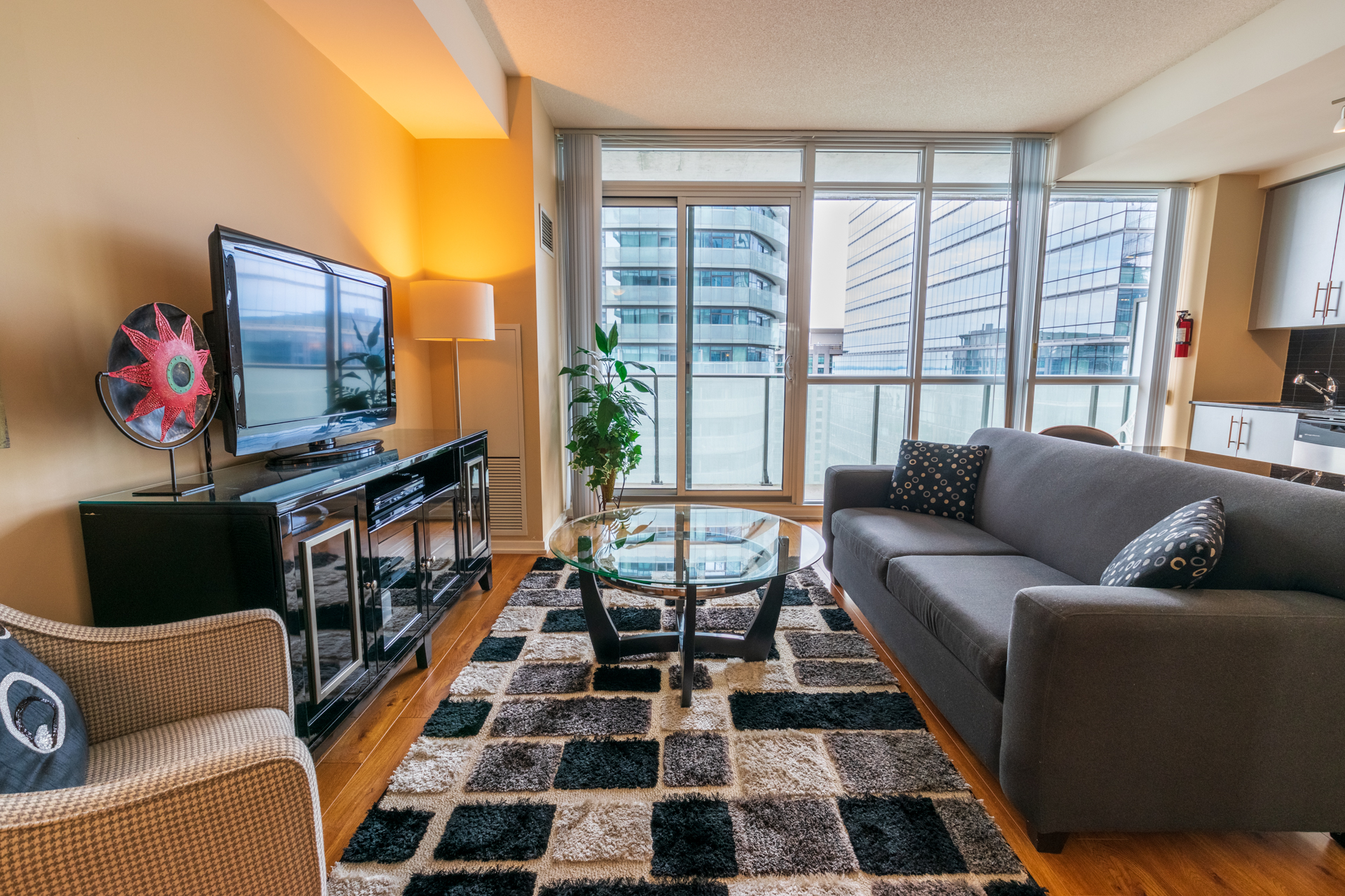 Apartment Rental at Maple Leaf Square Downtown Toronto. Living Room, Sofa