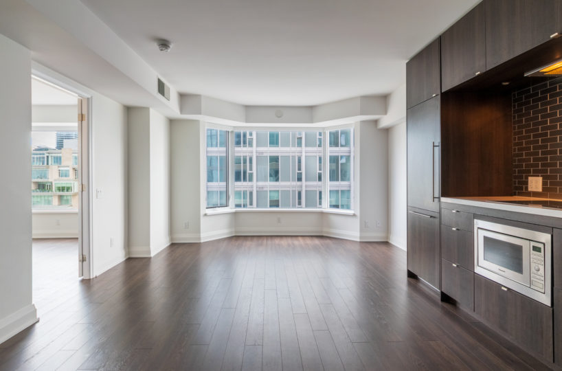 Downtown Toronto Rental Condo Wooden Floor Living Room Stainless Steel Appliances