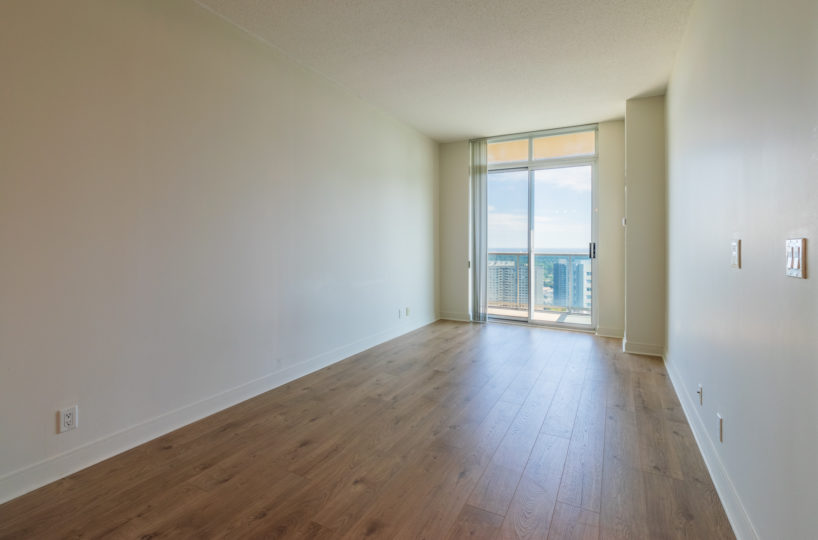 Mississauga Condo for Rent at 90 Absolute Living Room Laminate Floor big terrace entrance