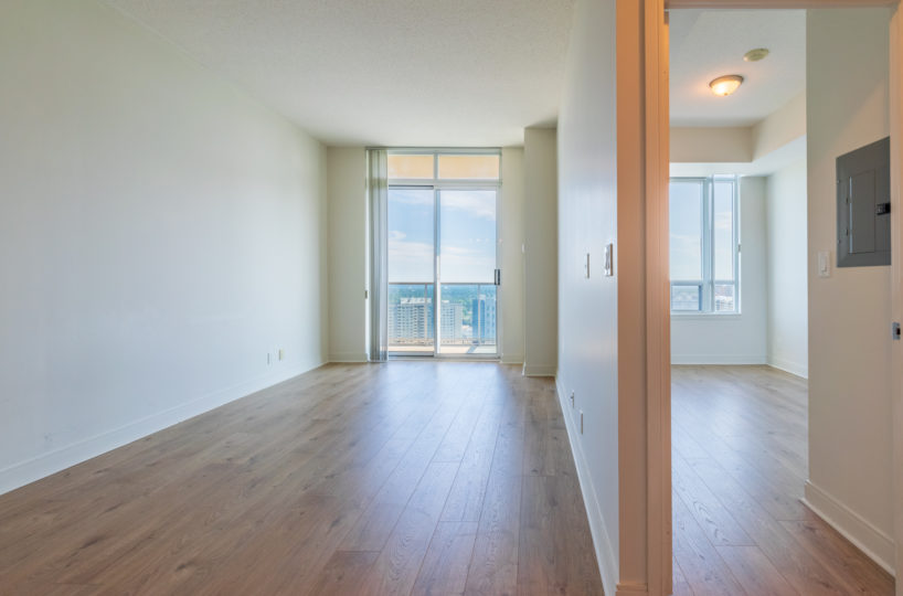 Best Mississauga Suite for Rent at 90 Absolute Downtown Living Room Bedroom Laminate Floor big terrace entrance
