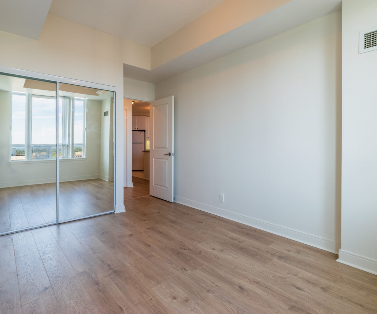 Affordable Mississauga Condo for Rent at 90 Absolute Master Bedroom Closet Laminate floor