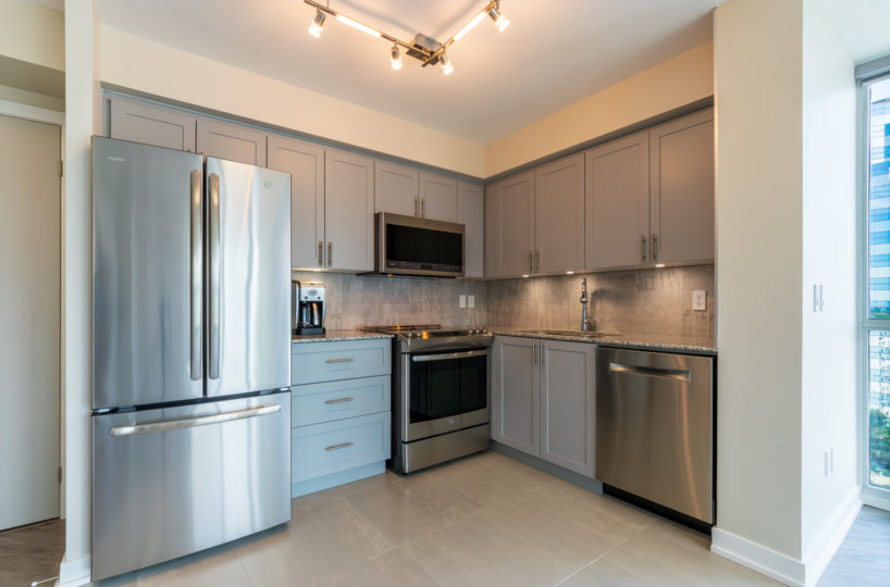 Rental Suite at The Palm, Downtown Toronto. Kitchen, Stainless Steel Appliances, Fridge, Microwave