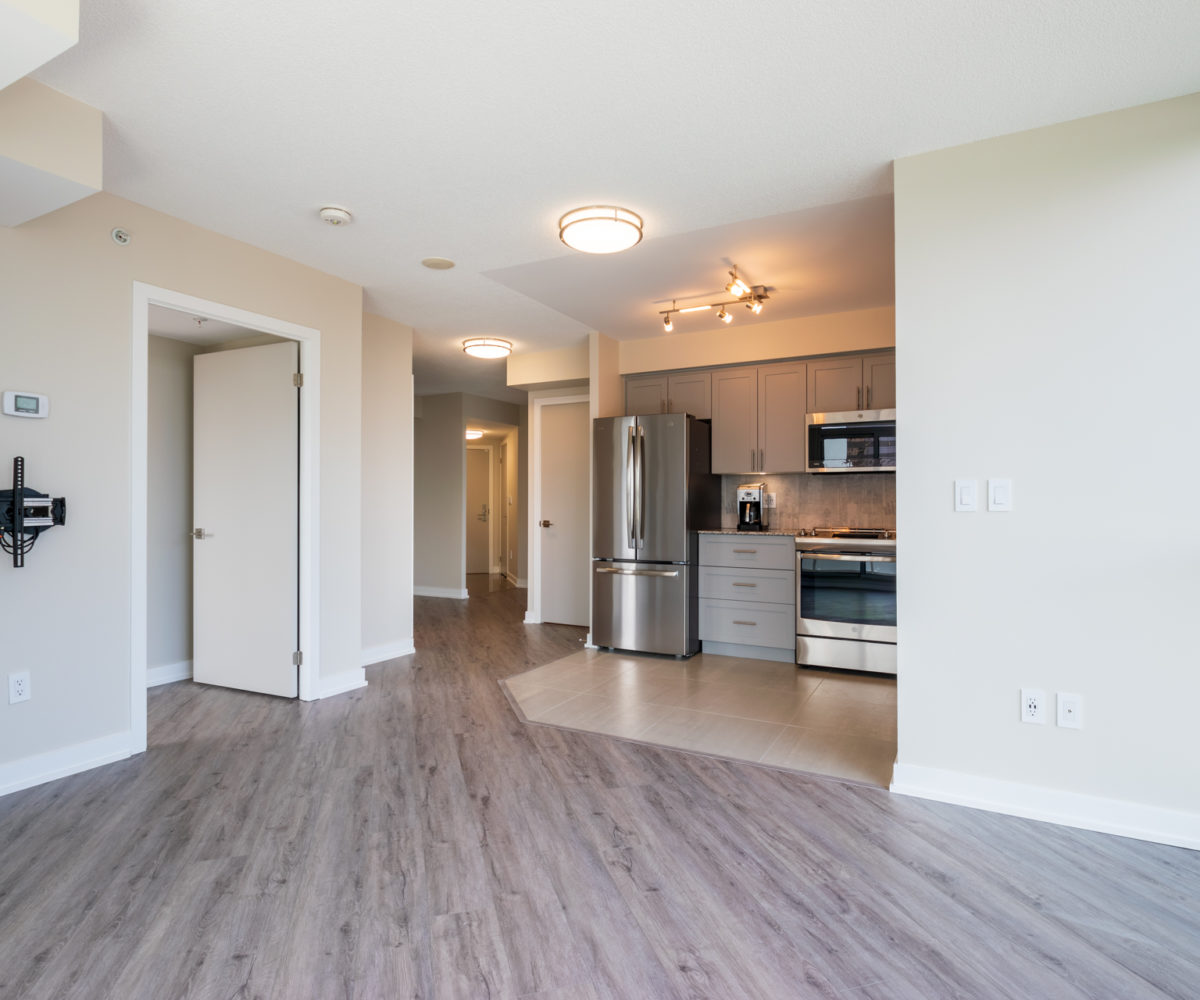 Affordable Rental Apartment at The Palm, Downtown Toronto. Living Room, Kitchen, Stainless Steel Appliances