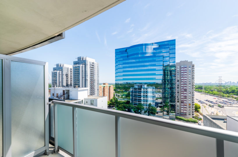 Rental Condo at The Palm, Downtown Toronto. Main Bedroom Terrace view, Buildings. Blue Sky