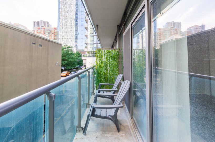 Rental Apartment chairs in balcony looking forward