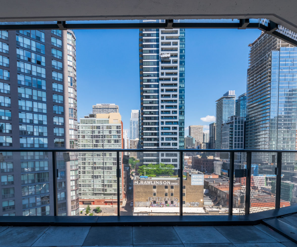 Rental Apartment Balcony looking at Toronto Downtown buildings. Terrace, View to Other Buildings